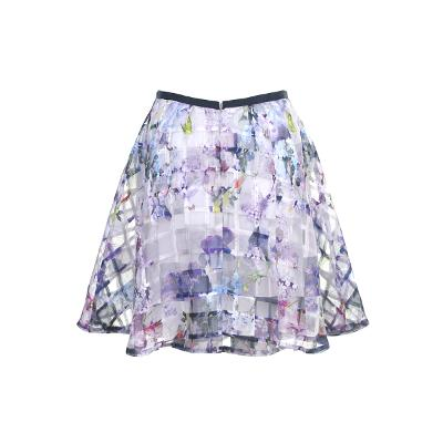 flower pattern check see-through skirt